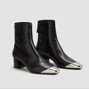 Mango leather ankle boots with metal toe